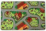 Spielteppich Kinderteppich BAUERNHOF Farm - 95x200cm, Spielmatte, Anti-Schmutz-Schicht, Teppich mit Straßen und Tieren für Jungen & Mädchen