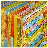 WACHSTUCH Tischdecken Wachstuch Tischdecke Gartentischdecke mit Fleecerücken Gartentischdecke, Pflegeleicht Schmutzabweisend Abwaschbar Bausteine Ziegel Rot-Gelb-Blau 110x 140 cm - Größe wählbar