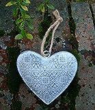 Deko-Hänger Herz Herzanhänger Metall grau-Antik Shabby 13 cm Landhaus