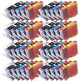 40 Druckerpatronen für CANON PIXMA IP4840 IP4850 IP4900 IP4950 IX6250 IX6550 MG5100 MG5140 MG5150 MG5200 MG5240 MG5250 MG5300 MG5340 MG5350 MX710 MX715 MX884 MX885 MX890 MX895 etc. mit Chip, kompatibel zu CANON PGI525 CLI526