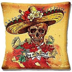 """Vintage Retro Sombrero mexicano Día DE LOS MUERTOS CALAVERA - 16"""" (40cm) Funda De Cojín"""