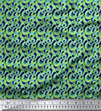 Soimoi Blau Viskose Chiffon Stoff Spirale & geometrisch