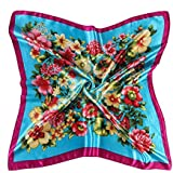 Datework Women Floral Printed Square Scarf Head Wrap (Blue)