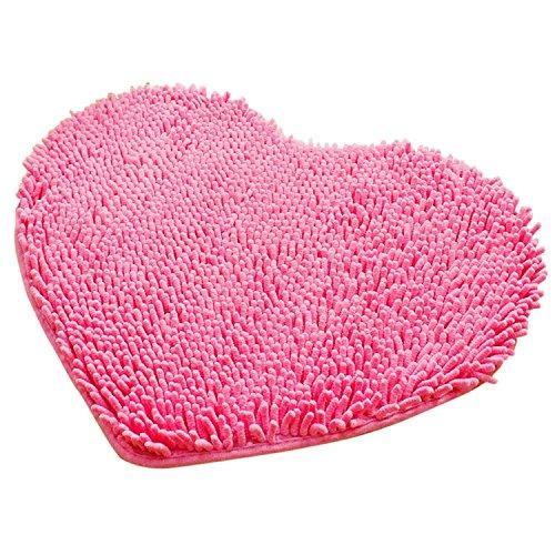 Gosear-Felpudo de alfombra de baño / Cojín del piso de Chenille mullida para Dormitorio(En forma de corazón,Rosa)