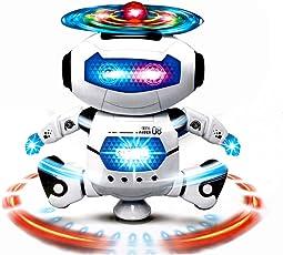 Mose Electronic Walking Dancing Smart Space Robot Astronaut Kids Music Light Toys 30 cm Height Hot Pink