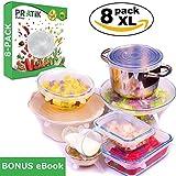 PRATIK - Paquete de 8 tapas de silicona extensible universales SIN BPA- BONUS limitado, se ofrece un eBook de 30 trucos