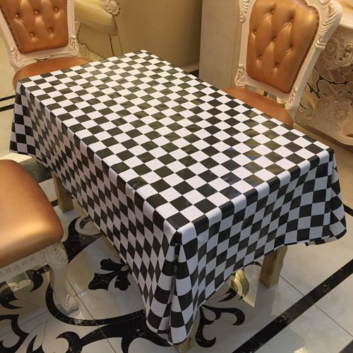 TreasureTrade Black and white Mosaic Theme Nonwovens Backed PVC Tablecloth Table Cover Wipe Clean Waterproof Oilproof Mildewproof Skidproof Stain resistant. (137x250cm)