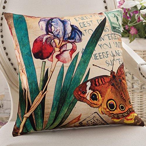 American Country Kissen Schmetterlinge und Blumen-Kissen Sofakissen Büro-Stuhl-Kissen Auto-Kissen-A 45x45cm(18x18inch)VersionA (Stoff Abgedeckt Stühle)