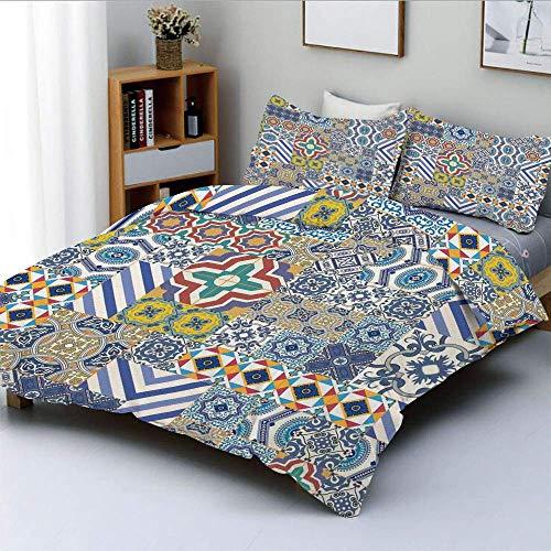 Bettwäscheset, marokkanische Klassische Mosaikfliesen inspiriert Patchwork-Stil Muster Artwork PrintDecorative 3-teiliges Bettwäscheset mit 2 Kissen Sham, Blauer Senf, Kinder \u0026 -