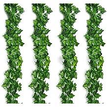 Fanuk atificial foglie Ghirlanda Finta greenry Fogliame Ivy Vine ghirlanda decorazione da parete per giardino di casa o matrimoni, confezione da 4(Ivy Foglie) - Primavera Garland