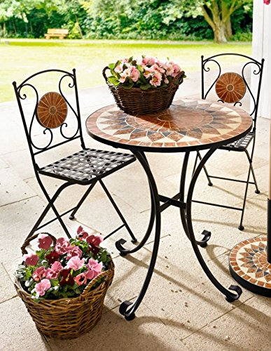 'Metal Table with Mosaic Top Garden Furniture Side Table Metal Garden Table