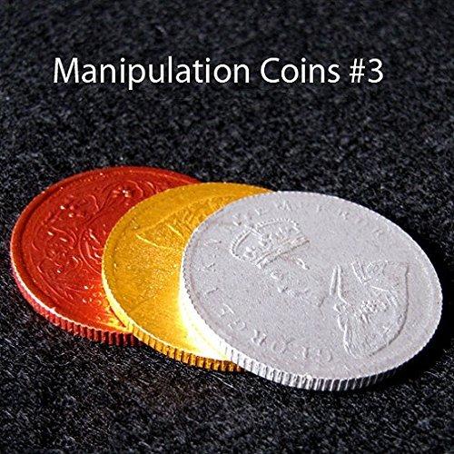 MilesMagic 3 Manipulation Münzen US-Half-Dollar-Größe für Münz-Transformation usw. Zaubertrick -