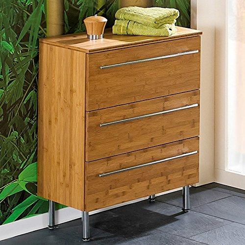 Lomadox Komplett Badezimmer Möbel Set Bambus massiv lackiert 8-TLG ...