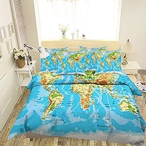 Juego de funda de edredón con diseño de mapa del mundo en 3D, 338 fundas de almohada, para cama individual, tamaño individual, tamaño king y king