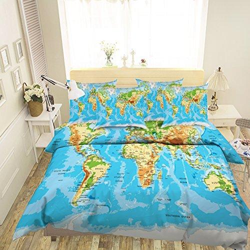 Preisvergleich Produktbild 3D Blau Weltkarte 338 Betten Kopfkissen,  Steppdecke Bettbezug Set Einzel Queen King / 3D-Foto Bettwäsche,  AJ Tapete UK Sieben