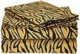 Clara Clark Signature 820Collection 4PC Bed Sheet Set, Full Size, Zebra Animal Print, Orange