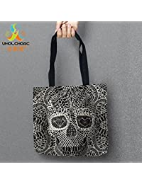 Akruti 17 : Day Of The Dead Bags Skull Printed Shopping Tote Linen Bag For Food Convenience Women Shoulder Handbags...