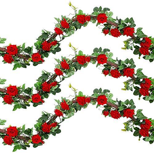 Veryhome Künstliche Seide Rose Garland Vine Silk Rosen Ivy Gefälschte Hängende Blumen Pflanze Floral Für Zuhause Hochzeitsarrangement Party Garten Wand Valentine Dekor 1Stücke (Rot-Normale Version)