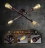 Retro Wasserrohr Deckenleuchte / Wandleuchte Vintage Industrial Design Deckenlampe / Wandlampe Innen Beleuchtung Leuchte Wohnzimmer Esszimmer Küche Wohnung Bar Schlafzimmer Lampe Eisen 4 * E27 50cm