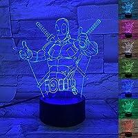 Lámpara de ilusión óptica 3D, efecto llevado 3D DEADPOOL Lámpara de escritorio de la luz de la noche 7 Lámpara de tacto de cambio de color para el cumpleaños de la boda Navidad Valentine Friends Regalos de los niños Decoración artística y romántica del hogar