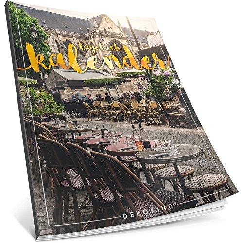 Dékokind® Tagebuch-Kalender: One Line A Day • Ca. A4-Format, Notizseiten & Zitate für jeden Monat • Kalenderbuch, Tagesplaner, Terminkalender • ArtNr. 42 Café • Vintage Softcover