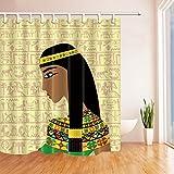GoHEBE Antike Ägyptische Profil für Damen mit dem ägyptischen hieroglyphs Duschvorhang, wasserdicht, Polyester, Stoff, Badezimmer, Dekorationen, mit Haken: 71x 71cm