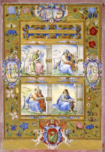 Posterlounge Cuadro de metacrilato 60 x 80 cm: The Four Evangelists, Within a Border of Flowers, Birds, and Insects de Giulio Clovio/Bridgeman Images