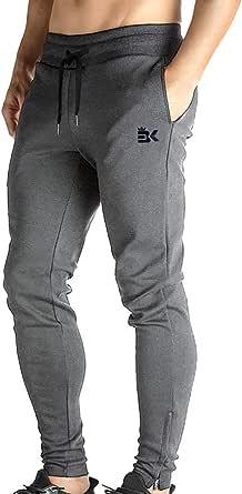 Broki - Pantaloni da jogging da uomo, con cerniera, stile casual, per palestra, fitness, vestibilità aderente, colore: nero