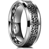King Will Classic 8mm Tungsten Carbide Ring Wedding Band for Men Inlay Celtic Knot Engagement Ring Comfort Fit