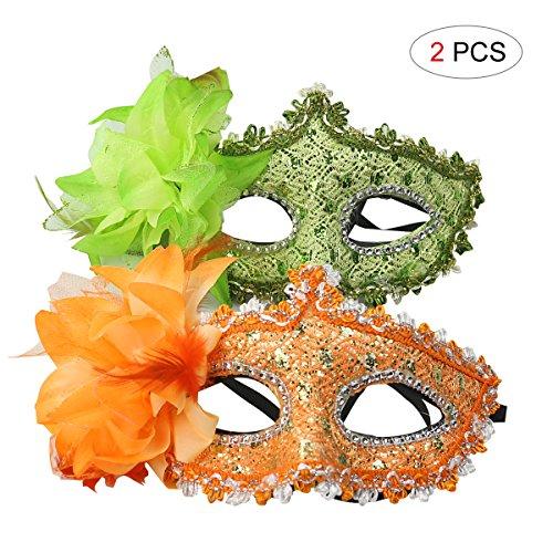 Hemore Venezianischen Augenmaske Blingbling Orange&Grün Strass-Steinen Maske Sexy Lace Masquerade Maske