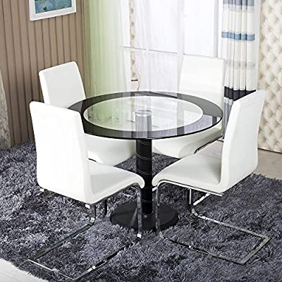 Clear Black Side Glass Round Dining Table Set With 4 Off White Side Chairs