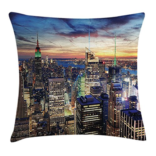 ZTLKFL New York Throw Pillow Cushion Cover, Skyline of NYC with Urban Skyscrapers at Sunset Dawn Streets USA Architecture, Decorative Square Accent Pillow Case, 18 X 18 inches, Orange Blue