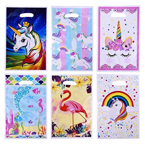 Ulife Mall 60 Stück Partytüten Kunststoff Süssigkeiten Beutel Bonbon Treat Taschen Geschenktüten mit Griff für Hochzeit Kindergeburtstag und Mottoparty (6 Farben)