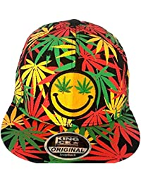 1d9084b93a73e King Ice Cannabis Marijuana Weed Leaf Flat Peak Snapback Caps