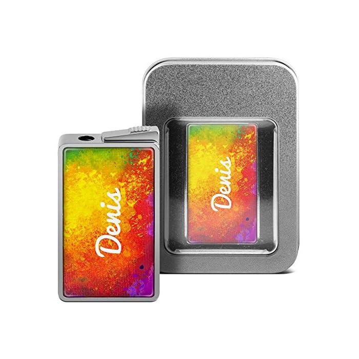 Feuerzeug mit Namen Denis - personalisiertes Gasfeuerzeug mit Design Color Paint - inkl. Metall-Geschenk-Box