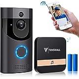 Video Türklingel,Tenswall 720P HD WIFI Überwachungskamera mit Glockenspiel,Gespräche Video Echtzeit,Nachtsicht PIR-Bewegungserkennung, IOS,Android Smart APP Fernbedienung über 2.4G WLAN(Mit Batterien)