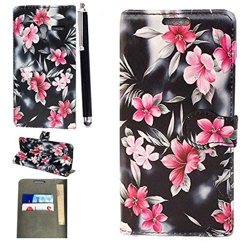 Alcatel Pop 4 Custodia, luxury Portafoglio Protettiva Custodia in pelle per Alcatel Pop 4 ( 5 inch ) Cover Caso + Stylus pen (Flower Book)