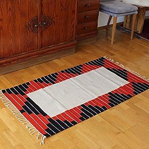 Teppich Vintage 150x80 cm weiß, rot, schwarz - Naturfarben | Wolltepich | Handarbeit | Teppich aus Wolle handmade