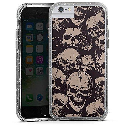 Apple iPhone X Bumper Hülle Bumper Case Glitzer Hülle Skull Boese Gothic Bumper Case Glitzer silber