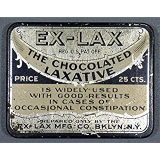 Ex-Lax Container. /Ntin For Ex-Lax Chocolate Flavored Laxatives C1920. Fine Art Print (45.72 x 60.96 cm)