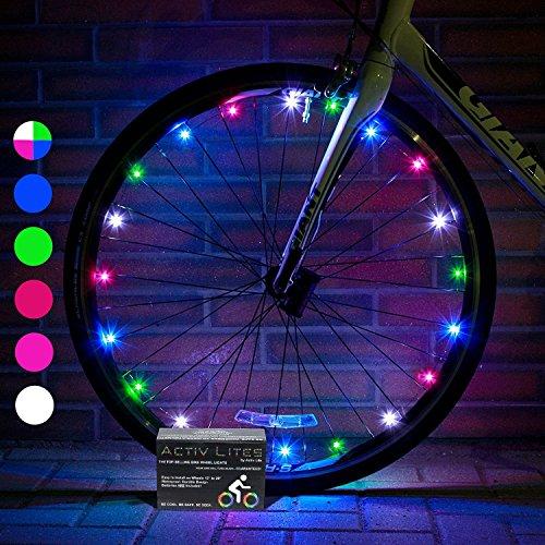 Activ Life Luci a LED per le Ruote delle Biciclette (Conf. da 1 per Copertone, Arcobaleno) - Miglior Regalo di Natale per i Bambini - Miglior Idea Regalo per Natale 2018 - Idea Divertente per Fam