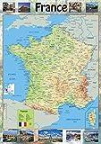 Carte de France–Papier Affiche plastifiée A1 Size 59.4 x 84.1 cm claire...
