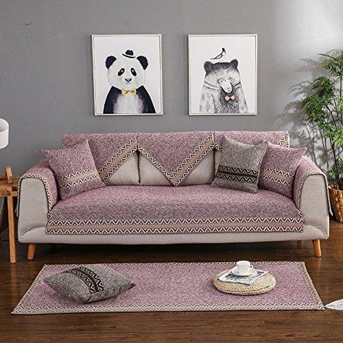 DW&HX Sofa abdeckung Baumwolle Sofa Überwurf Schnitt Retro Anti-rutsch Schmutzresistent Dekoration Sofahusse Kissen abdeckungen Für Wohnzimmer-lila 70x70cm(28x28inch) (Schonbezug Sofa Lila)