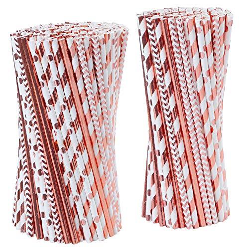 Tupa 100 Stück Roségold Papierhalme Einweg-Trinkhalme aus Papier biologisch abbaubar Folie rotgold gestreift und solide Papier-Strohhalme für Party Hochzeit Feiern Dekorationen
