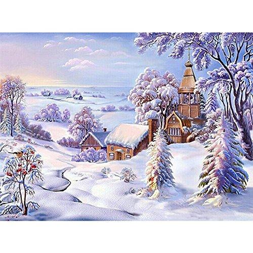 30X40cm Voller Diamanten Winter Landschaft & Weihnachten Muster Diamant Malerei Wohnzimmer DIY Runde Diamant kreuzstich-stickerei Set