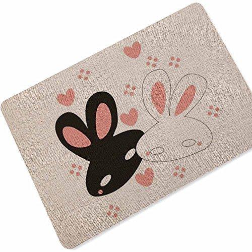eureya Lovely Kaninchen Fußmatten Fußmatte Innen/Außen Badezimmer Wohnzimmer Küche Teppiche Home Decor 40X 60cm (Kaninchen Willkommen-matte)