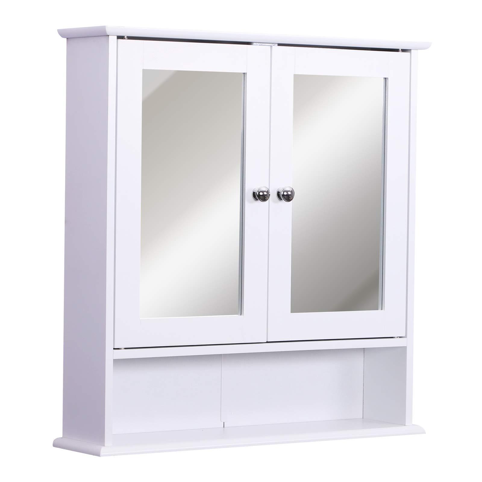 kleankin Armario de Baño con Espejo de Pared con 2 Puertas Armario de 3 Niveles para Almacenamiento Armario de Pared…