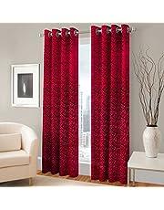 warmland Premium Floral 2 Piece Velvet Curtain