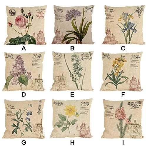 iBaste Vintage Fundas de Almohada de Lino de Algodón 45*45 CM Pillowcases Cojines del Sofá Cojín del Coche los Cojines no Contienen Almohadas