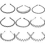 Hileyu 9 Stuks Haarband Mannen Metalen Spring Wave Sport Hoofdband Vrouwen Haarband Haar Hoepel Unisex Zwart Hair Band Access